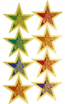 Gold star shaped paper sticker