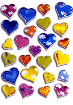 Crystal Sticker colorful hearts