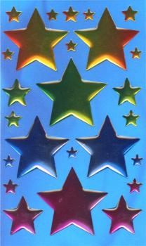 Crystal Sticker large colorful stars