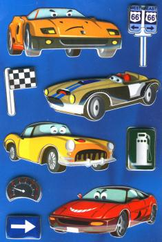 3D effect sticker racing car