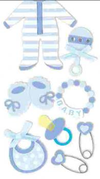 Handmade Stickers Baby boy blue