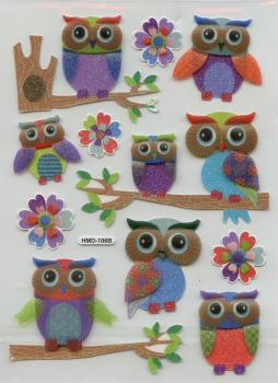 3D Sticker mica Owls