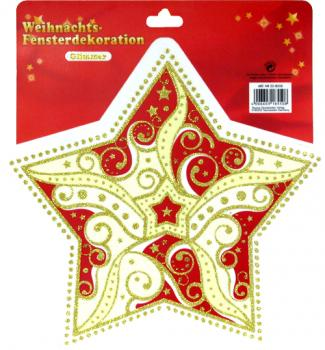 Star glitter large red gold