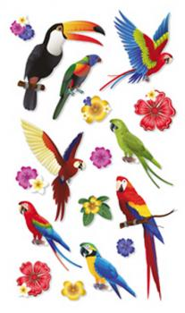 Stonez 3D Sticker Toucan and Parrots
