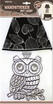 Wall stickers with light crystal owl