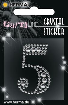Party Line Crystal Sticker Zahl 5