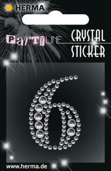 Party Line Crystal Sticker Zahl 6