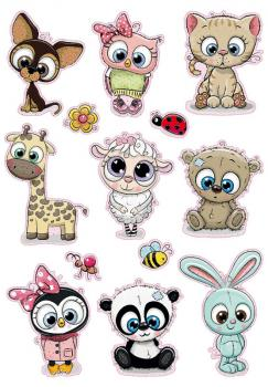 Big Glitter Sticker Animal Babies 13 Stickers