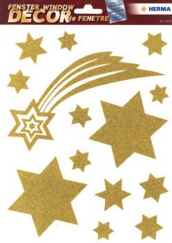 Window Decor A4 stars with tail gold