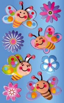 3D Sticker Flowers Butterflies
