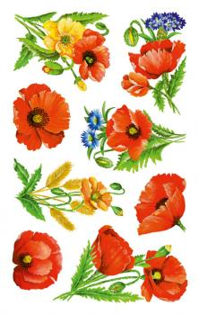flowers stickers poppies 24 stickers