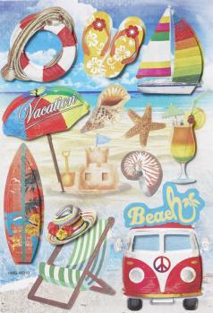 3D Papier Sticker Beach