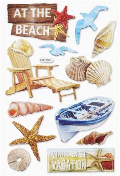 3D Paper Sticker Beach I