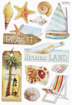 3D Paper Sticker Beach II