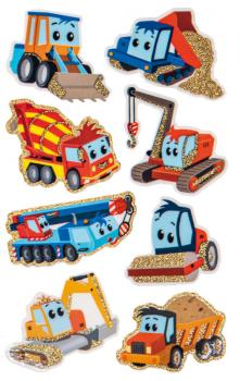 Glitter Sticker Construction Machines 8 Stickers
