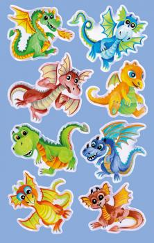 Glossy Stickers Dinosaur Dragon 8 Stickers