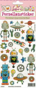 Porcelain embroiderer robot decor