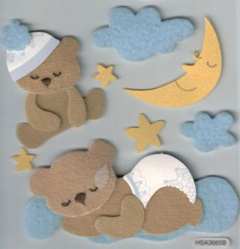 Handmade Sticker Baby Bear blue