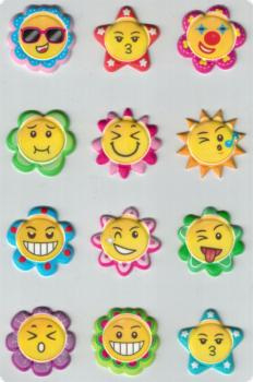Schaumstoff Sticker Smiley Blumen
