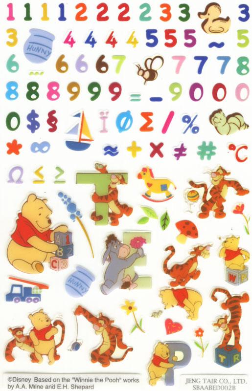 Winnie Pooh Zahlen Sticker - Sticker, Etiketten u. Aufkleber zum ...