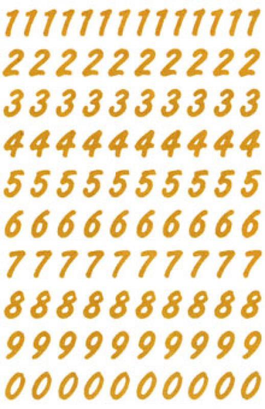 Wetterfeste Sticker Zahlen Gold 8 Mm