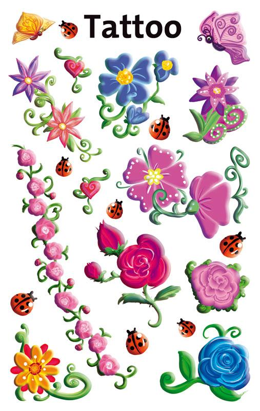 Tattoos Sticker Blumen beglimmert