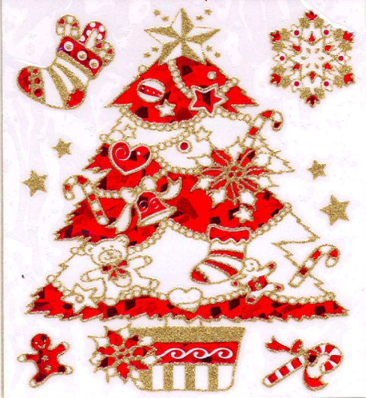 weihnachtsbaum rot gold beglimmert sticker etiketten u. Black Bedroom Furniture Sets. Home Design Ideas