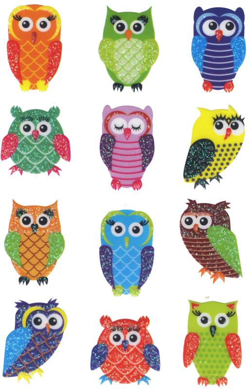 owls stickers mica