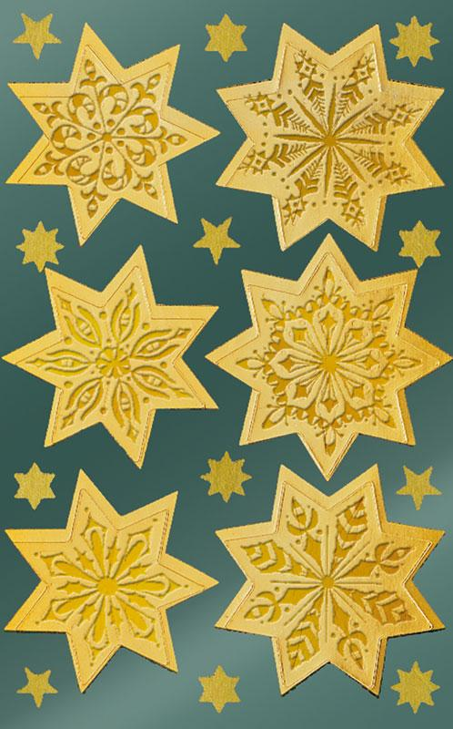 Shiny foil stickers star gold embossed relief