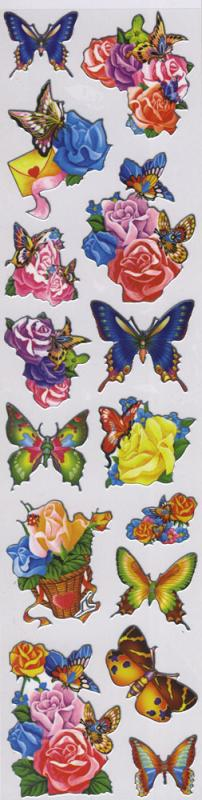 Metallic Sticker Blumen Schmetterling