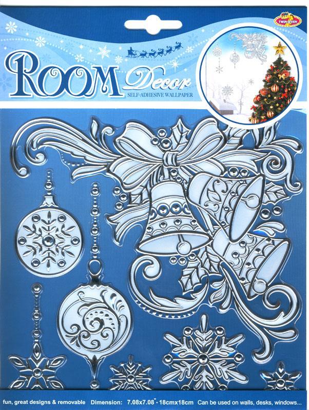 wand fensterdeko weihnachts glocken silber gepr gt. Black Bedroom Furniture Sets. Home Design Ideas