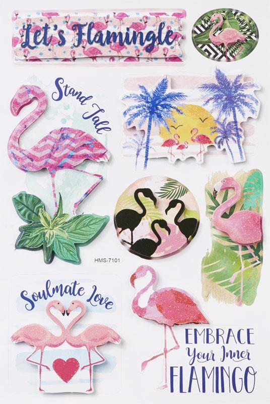 3D Sticker Flamingos Glitter