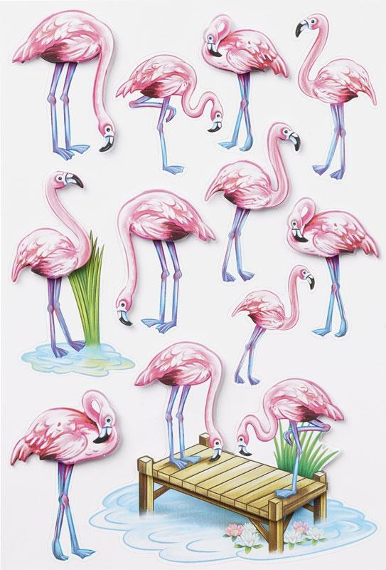 3D Sticker flamingos  I
