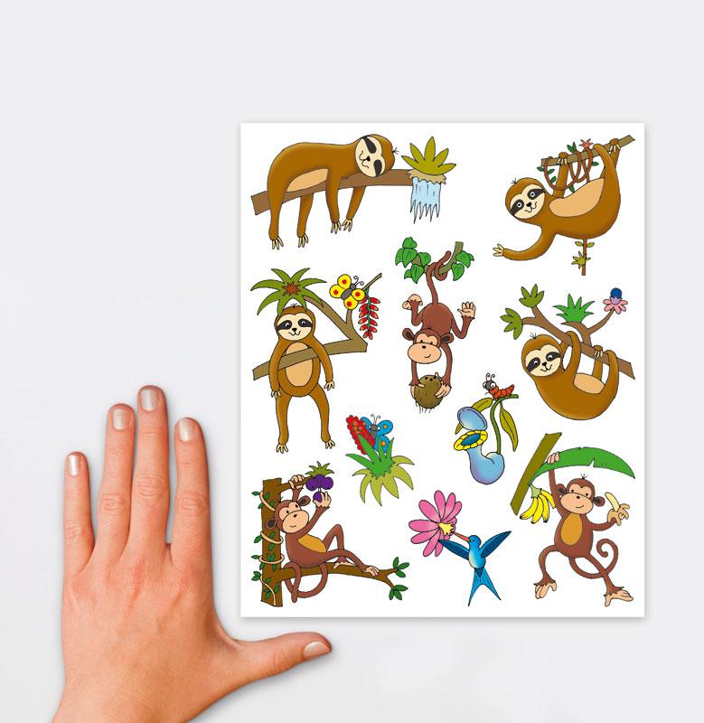 Window pictures A4 jungle animals 10 stickers