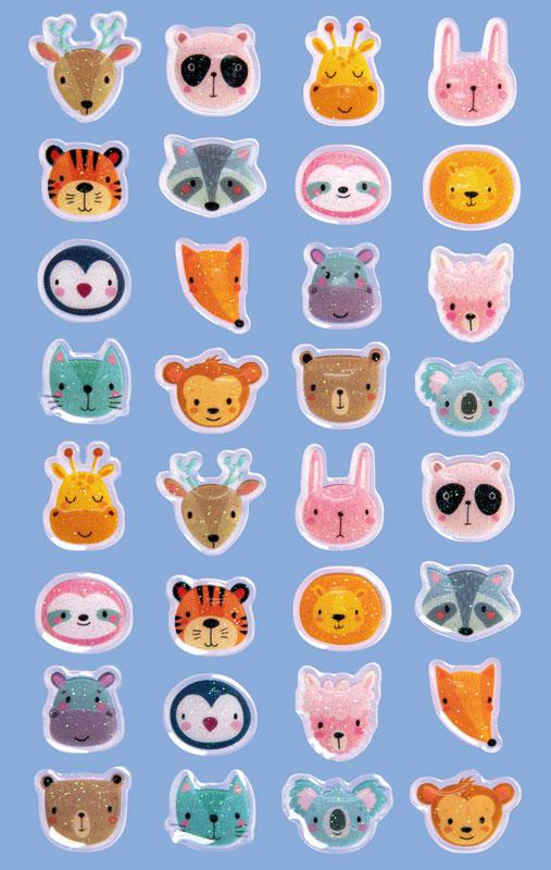 Glossy stickers animal heads 32 stickers